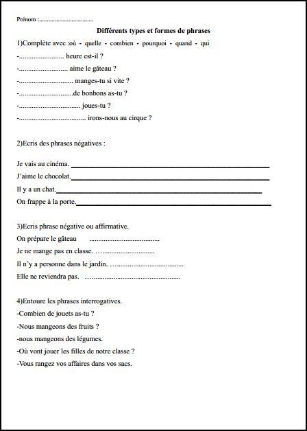 Grammaire Les Types Et Formes De Phrases Preps Exercices